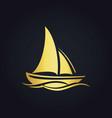 sailing boat ocean gold logo vector image