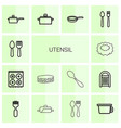 14 utensil icons vector image vector image
