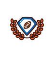 american football sport balloon in emblem vector image vector image