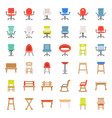armchair sofa and bench flat design icon vector image vector image