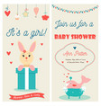 bashower double invitation card with cute bunny vector image