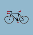 bicycle with heart shape chian wheel vector image