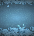 blue background with hand drawn waves vector image vector image