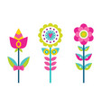 bright creative flowers with colorful petals set vector image vector image