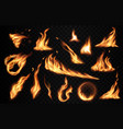 burning fire flames with flashes realistic vector image vector image
