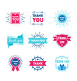 cartoon thank you badges or labels set vector image