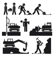 Collection of Black Construction Earthworks Icons vector image vector image
