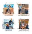 construction engineer electrician plumber worker vector image vector image