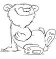 cute cartoon bear sitting - bl vector image
