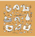 cute cartoon rooster chicken and hen family vector image