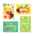 cute colorful summer postcards with fruits vector image