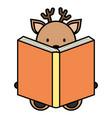 cute reindeer reading book character vector image