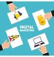 digital marketing set line icons vector image vector image
