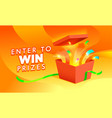 enter win prize banner open gift box vector image