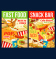 fast food restaurant lunch meal and drinks vector image vector image