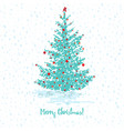 festive greeting card fir tree with red balls vector image vector image