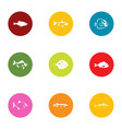 fish breeding icons set flat style vector image vector image