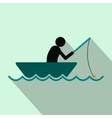 Fisherman in a boat flat icon vector image vector image