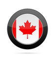 Flag of Canada Shiny black round button vector image