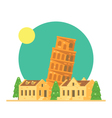 Flat design of the leaning tower of Pisa Italy wit vector image vector image