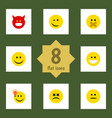 flat icon expression set of winking pouting hush vector image vector image