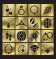 golgen luxury jewelry icons set vector image