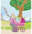 grandmother with her granddaughter for a walk in vector image