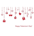Greeting card for Valentines Day with hanging vector image vector image