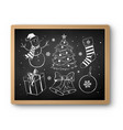 hand drawn chalked christmas collection vector image vector image