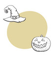 hand drawn halloween symbols - pumpking lantern vector image