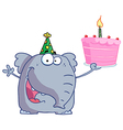 Happy Birthday Elephant In A Party Hat vector image vector image