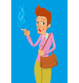 heavy smoker lady vector image vector image