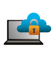 laptop cloud computing security data vector image vector image