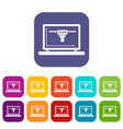 laptop with 3d design icons set flat vector image vector image