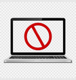 laptop with no sign on transparent screen vector image vector image