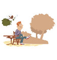 man listens to birdsong in park vector image vector image