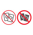 no gambling line and glyph icon prohibition vector image vector image