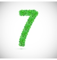 Number seven made up of green leaves vector image vector image