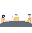 people in family sitting together keep distance vector image vector image