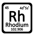 Periodic table element rhodium icon vector image vector image