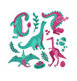 set 5 cute dinosaur color hand drawn vector image vector image