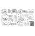set hand drawn speech bubbles various shapes vector image vector image