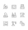 set line icons production plant vector image vector image
