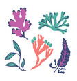 set of abstract seaweed flat cartoon sea algae vector image