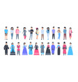 set of asian people wearing traditional costumes vector image vector image