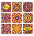 set of cards with kaleidoscope pattern vector image