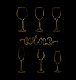 set of gold wine glasses vector image