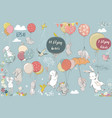 set with flying hares vector image vector image