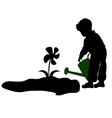 silhouette of a child watering flowers vector image vector image