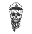 skull with captain cap beard and mustache vector image vector image